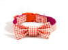 Dog collar and bow tie set: Duck (orange), a summery gingham