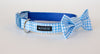 Collar and bow tie set in Duck, a blue gingham