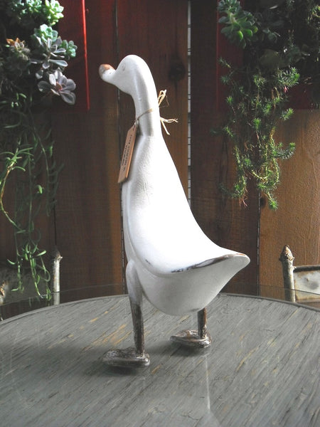 Beach Rustic French Country Decor Wood Duck, Model Chambery, 17 Inches Tall, Ivory - Beach Rustic