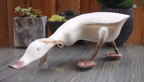 Beach Rustic French Country Decor Wood Duck, Model Brittany, 15 Inches Length, Ivory - Beach Rustic Artisan Country Decor