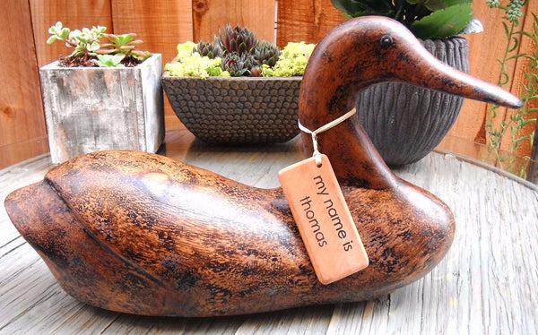 Americana Wood Duck, 14 Inches Length, Burnished Natural Finish - Beach Rustic Artisan Country Decor