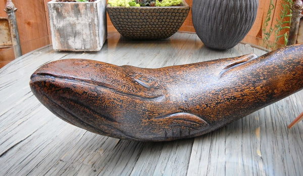 Coastal Decor Artisan Wooden Fin Whale, 18 inches Length - Beach Rustic Artisan Country Decor