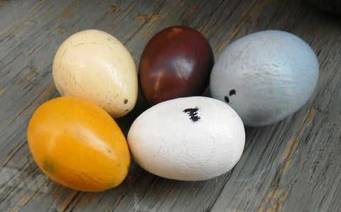 Country Decor Life-Size Wooden Eggs, Assorted Colors, Set of 5 - Beach Rustic Artisan Country Decor