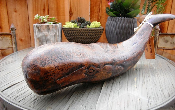 Nautical Decor Artisan Wooden Whale, 18 Inches Length - Beach Rustic Artisan Country Decor