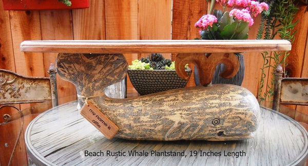Nautical Decor Wooden Whale Plant Stand, 19 1/2 inches length, Gray Whale - Beach Rustic Artisan Country Decor