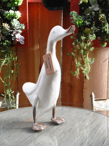 Beach Rustic French Country Decor Wood Duck, Model Chambery, 17 Inches Tall, Ivory
