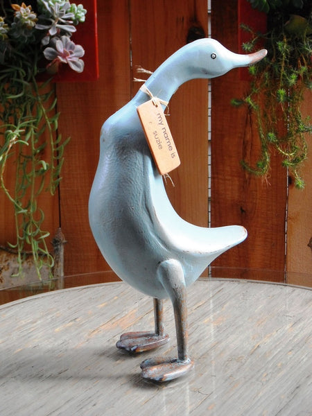 French Country Decor Wood Duck, Model Provence, 16 Inches Tall, Color Aqua - Beach Rustic Artisan Country Decor