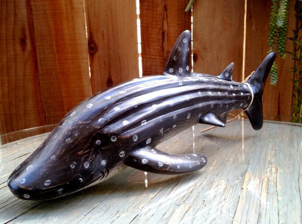 Spotted Whale Shark, Hand-Carved & Finished, a Full 18 Inches in Length - Beach Rustic Artisan Country Decor