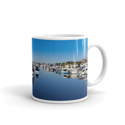 Balboa Yacht Basin in the Morning Coffee Mug by Beach Rustic - Beach Rustic Artisan Country Decor
