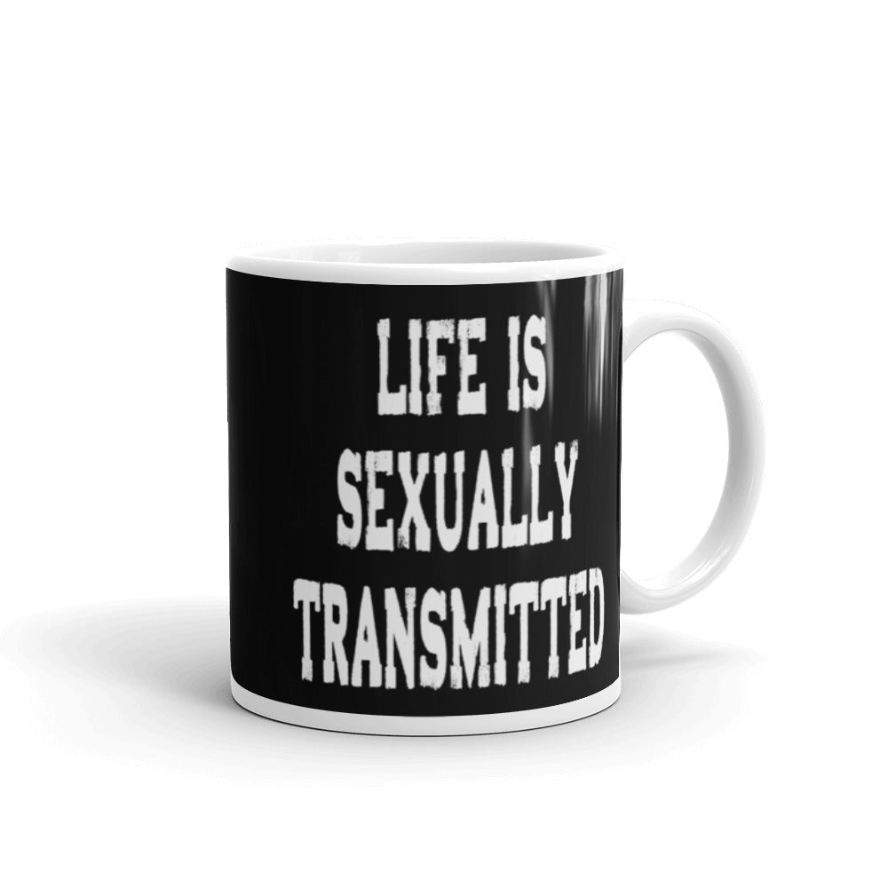 Life Is Sexually Transmitted Funny Coffee Mug - Red & White on Black - Beach Rustic Artisan Country Decor