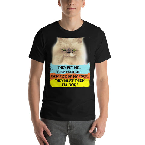 Funny Cats Must Think They're God Ring-Spun Cotton Short-Sleeve Unisex T-Shirt - Beach Rustic Artisan Country Decor