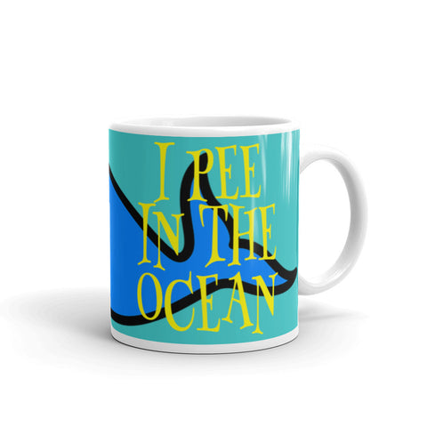 I Pee In The Ocean Funny Coffee Mug - Beach Rustic Artisan Country Decor