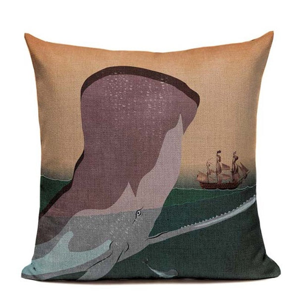"Whales and Fishes Throw Pillow Covers, 18"" Square (45cm*45cm) - Beach Rustic Artisan Country Decor"