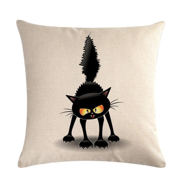 "Angry Little Black Cat Throw Pillow Covers, 18"" Square (45cm*45cm) - Beach Rustic Artisan Country Decor"