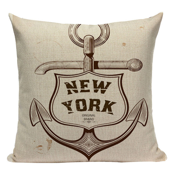 Classic Nautical Theme Throw Pillow Covers, 18 Inches Square, Cotton-Linen Blend - Beach Rustic Artisan Country Decor