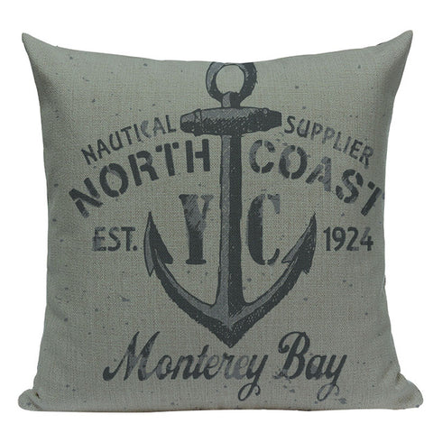 Classic Nautical Theme Throw Pillow Covers, 18 Inches Square (45cm*45cm) - Beach Rustic Artisan Country Decor