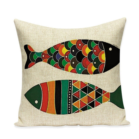 "Colorful Whales & Fishes Throw Pillow Covers, 18"" Square (45cm*45cm) - Beach Rustic Artisan Country Decor"
