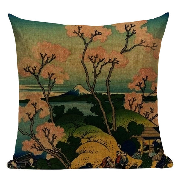 "Village Style Ukiyo Series Throw Pillow Covers, 18"" Square (45cmx45cm) - Beach Rustic Artisan Country Decor"