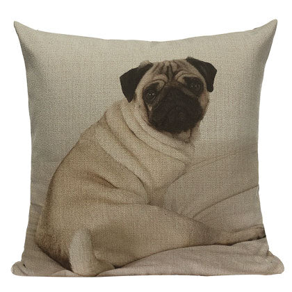 "Cute Pug Throw Pillow Covers, 18"" Square (45cm*45cm) - Beach Rustic Artisan Country Decor"