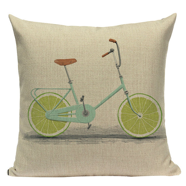 "Whimsical Bicycle Throw Pillow Cushion Cover, 18"" Square (45cm*45cm) - Beach Rustic Artisan Country Decor"