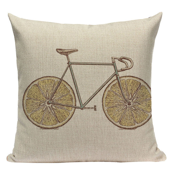 Whimsy Bicycle Throw Pillow Cushion Cover, 18 Inches Square, Linen-Cotton Blend - Beach Rustic Artisan Country Decor