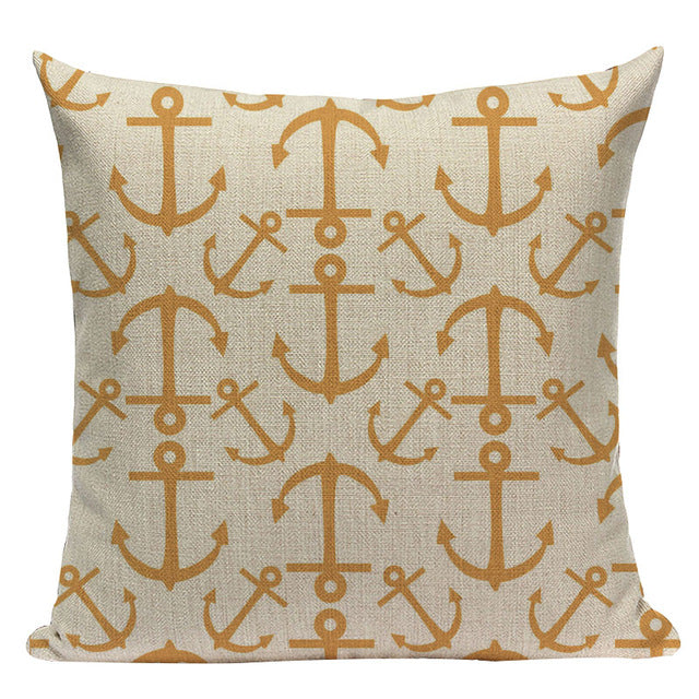 Ocean Sea Life Geometric Throw Pillow Covers, Square & Lumbar - Beach Rustic Artisan Country Decor