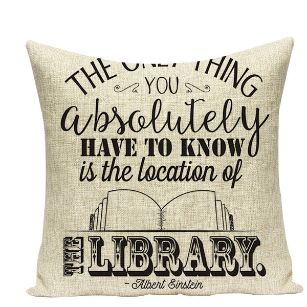 "Book Lover Throw Cushion Covers, 18"" Square (45cm*45cm) - Beach Rustic Artisan Country Decor"