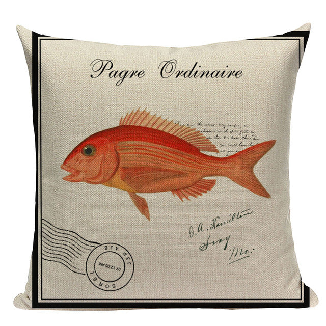 Elegant Decorative Sea Life Throw Pillow Covers, 18 Inches Square, Cotton-Linen Blend - Beach Rustic Artisan Country Decor