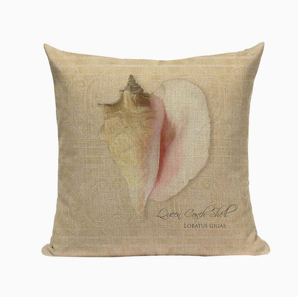 "Vintage Conch Shell Throw Pillow Covers,  18"" Square (45cm*45cm) - Beach Rustic Artisan Country Decor"