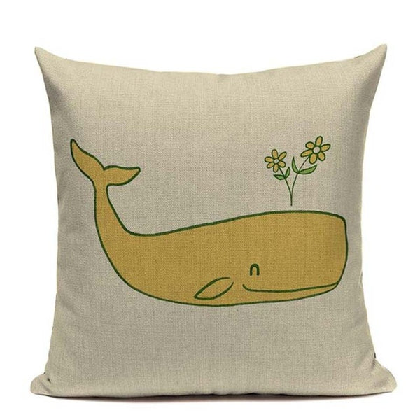 "Beach Rustic Whales and Fishes Throw Pillow Covers, 18""x18"", Cotton & Linen - Beach Rustic Artisan Country Decor"