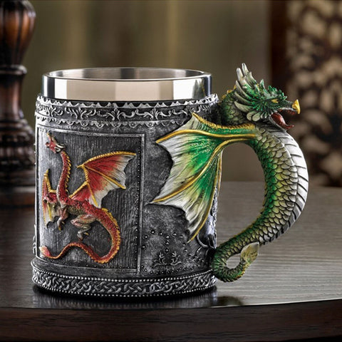 Double Wall Stainless Steel 3D Skull Knight Tankard Dragon Drinking Mug