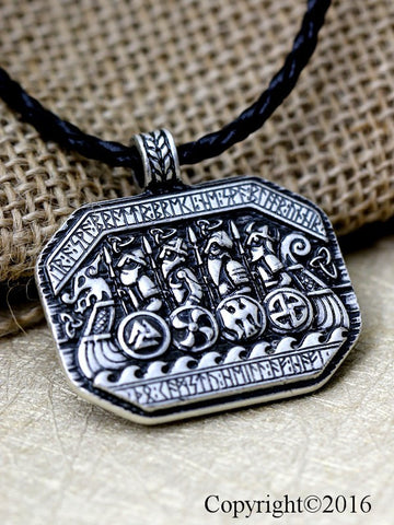 Viking Ship and Solider Battle Pendant Necklace