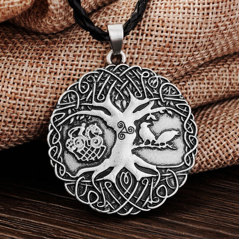 Norse Viking Soldiers Raven Tree of Life Pendant Necklace