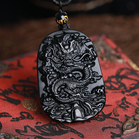 Black Obsidian Carved Jade Dragon Pendant Necklace