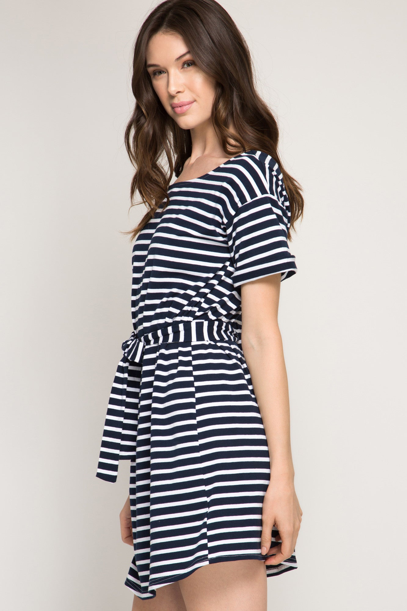 e2ca825511e Navy Blue and White Striped Open Back Dress with Bow Tie Waist Belt ...