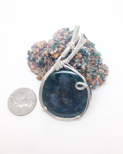 Z9 LED Moss Agate sterling silver pendant