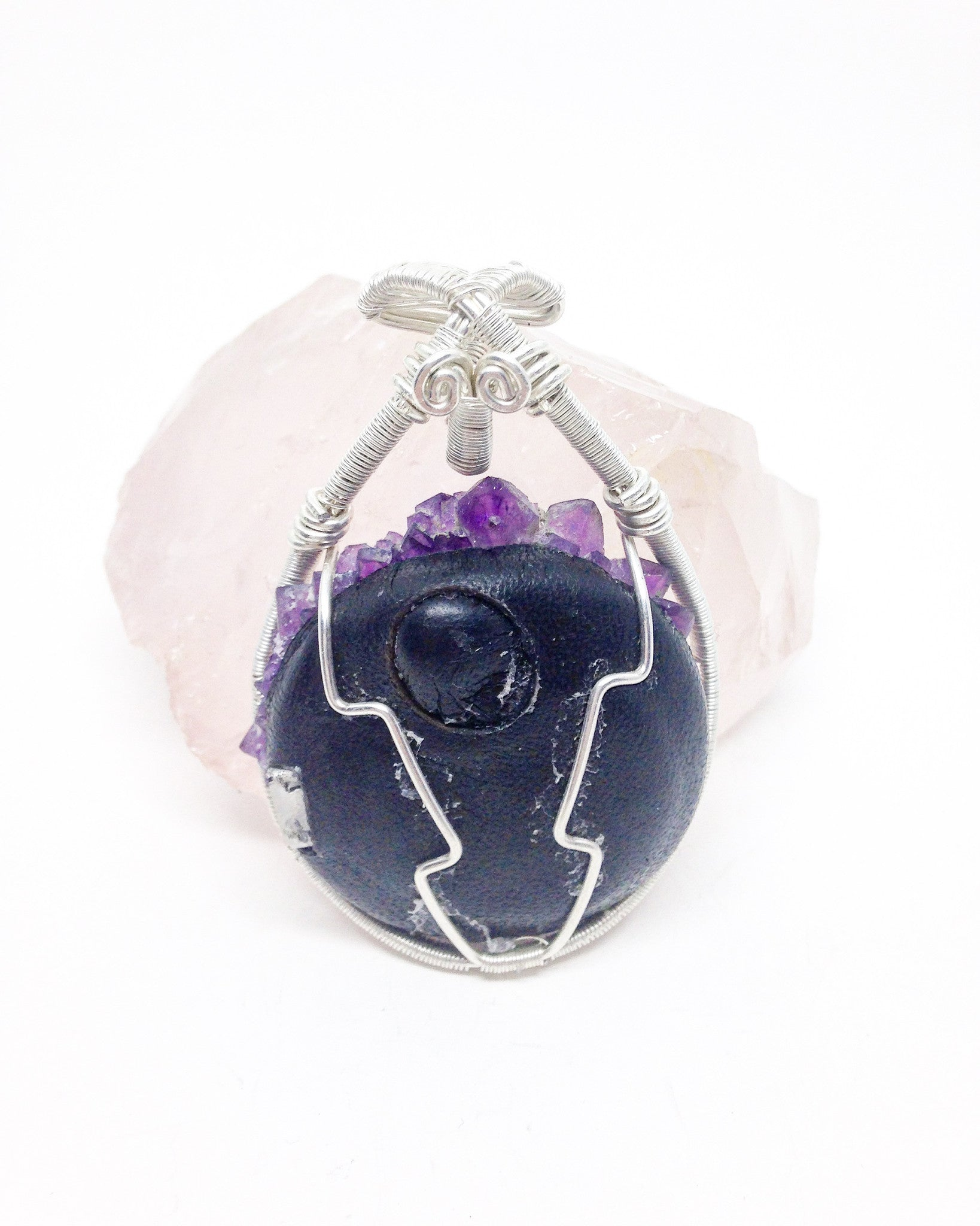 Z9 LED Amethyst flower sterling silver pendant 06