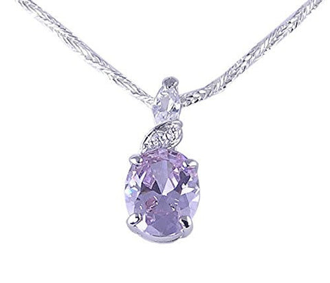 Oval Lavender CZ (Cubic Zirconia) .925 Sterling Silver Pendant with Rhodium Plating