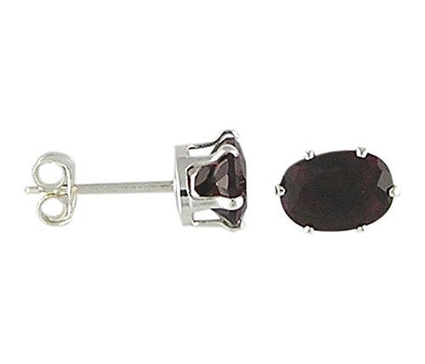 7x5 mm Oval Garnet Cubic Zirconia .925 Sterling Silver Earrings