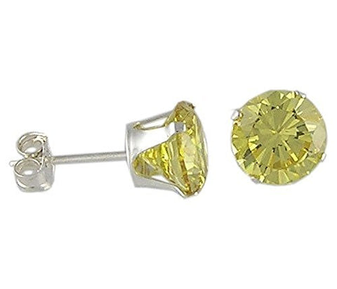 7 mm Round Yellow Cubic Zirconia .925 Sterling Silver Earrings