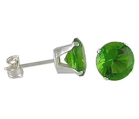 6 mm Round Peridot Cubic Zirconia .925 Sterling Silver Earrings
