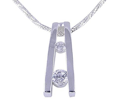 Two Stone CZ (Cubic Zirconia) .925 Sterling Silver Pendant