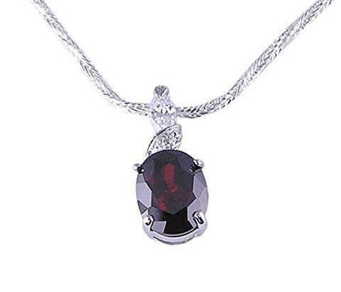 Oval Garnet CZ (Cubic Zirconia) .925 Sterling Silver Pendant with Rhodium Plating