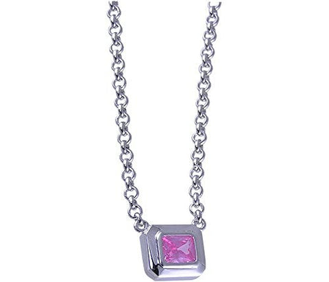 17 Pink Cubic Zirconia Rhodium Plated .925 Sterling Silver Necklace
