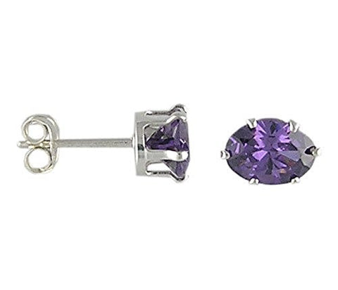 6x8 mm Oval Amethyst Cubic Zirconia .925 Sterling Silver Earrings