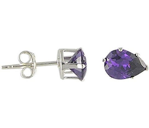 7x5 mm Pear Amethyst Cubic Zirconia .925 Sterling Silver Earrings