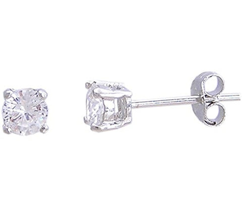 Sterling Silver Stud Earring Clear Cubic Zirconia .50 Carat Total Weight .25 Ct Each