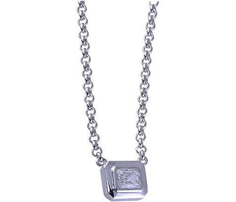 17 Cubic Zirconia Rhodium Plated .925 Sterling Silver Necklace