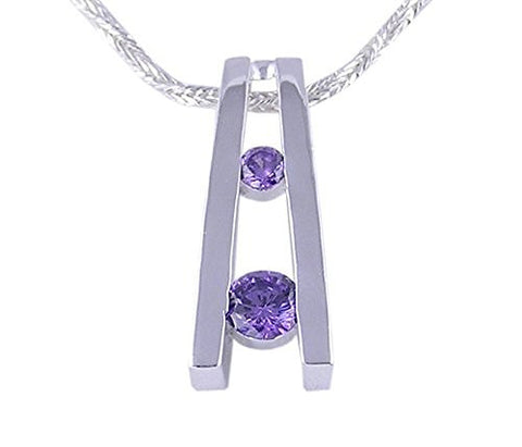 Amethyst Cubic Zirconia CZ .925 Sterling Silver Pendant