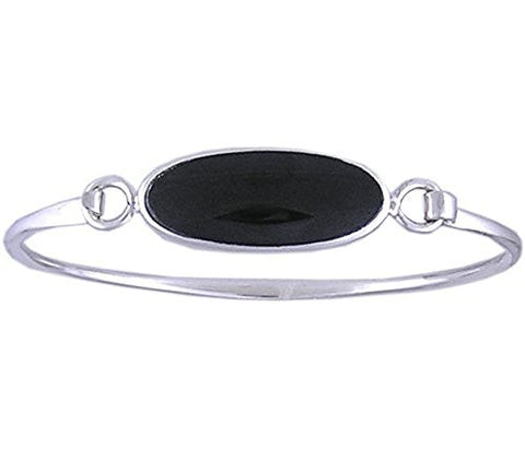 925 Sterling Silver Bracelet with Black Resin